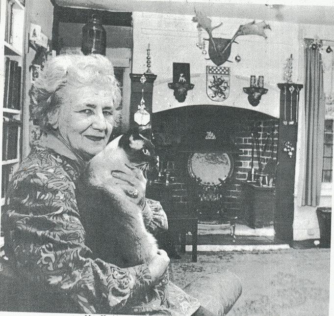 Elizabeth Hayklan inside her historic house, c.1971