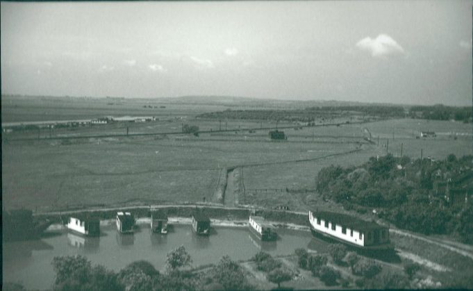 House boats in Church Creek from the top of Benfleet Church in 1951 | Gilbert Wines