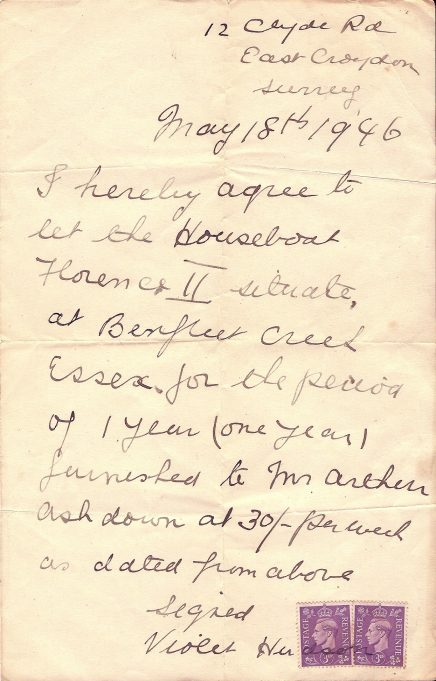Tenant agreement for the houseboat Florence II dated May 18th 1946, the boat's owner lived in East Croydon Surrey. | Jill Ashdown