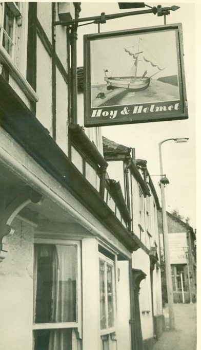 The Hoy and Helmet sign date unknown. About 2014 the sign was sadly changed to a 'modern' black and white one. | Jackie Barnes collection