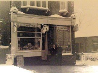 Bernard Hagon's father standing outside the Clock House with a customer. Taken in 1948. | Bernard Hagon