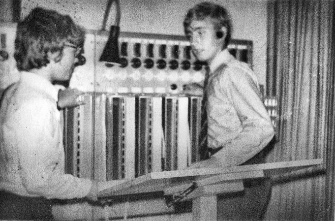 Photo 1 - Me (back to camera) at the old lighting control board   Adrian Pegg