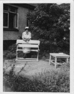 Betty Light in the back garden of