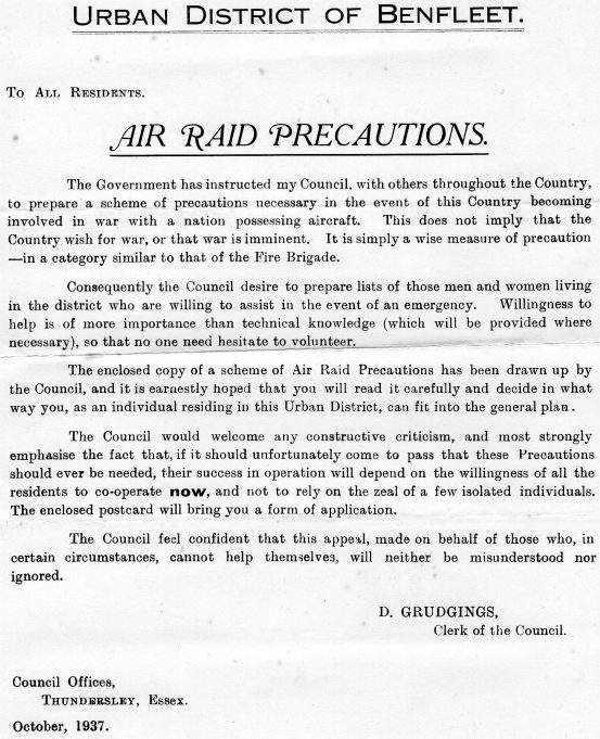 Councils requested to make plans to deal with the possibility of air raids as early as 1937