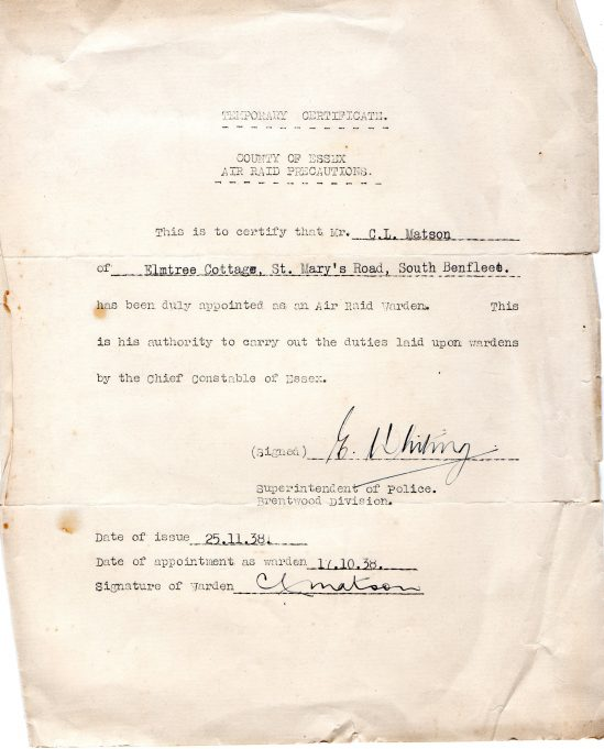 Certificate appointing Charles L. Matson as an Air Raid Warden