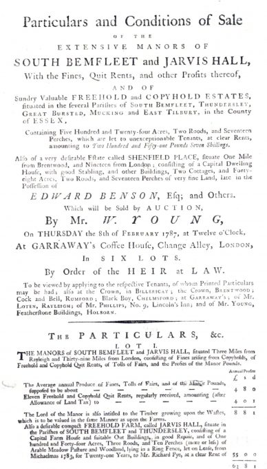 Sale poster 1787