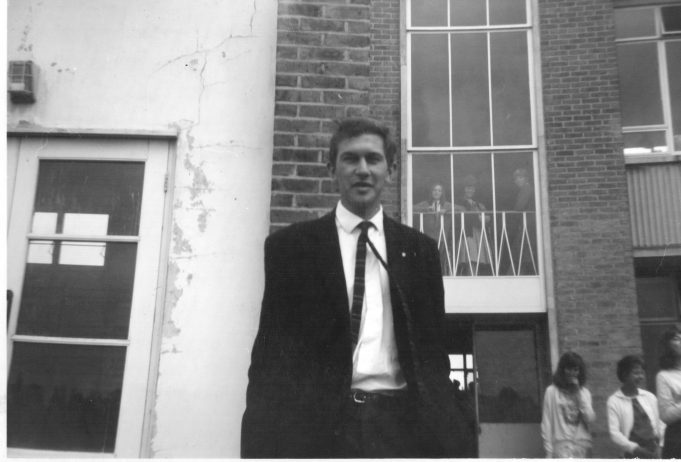 Mr Oates outside the boys gym | Janice Anderson