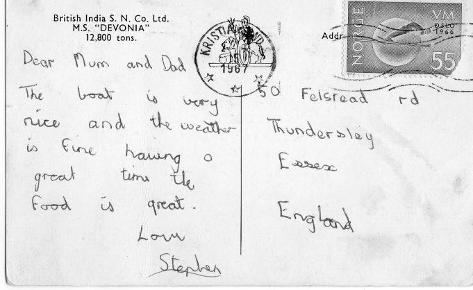 Postcard sent by Stephen | Joan Dean