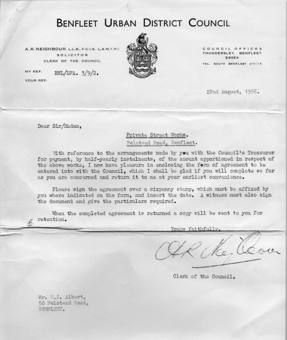 Letter for the arrangements to pay for Felstead Road to be made up, which was paid for by the home owners. | Joan Dean