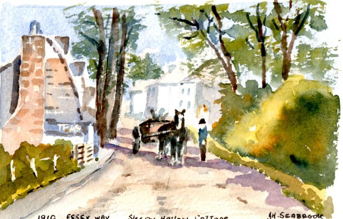 Horse and trap passing  Sleepy Hollow Cottage1910