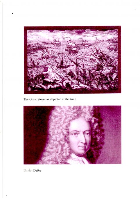 The Great Storm as depicted at the time and a portrait of Daniel Defoe