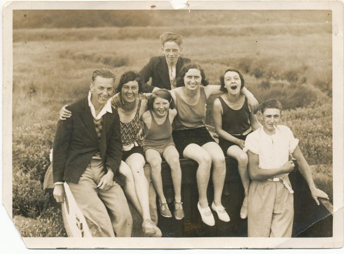 Swimming party - from left to right :Reg Eatwell, Sally Bass, Iris, Reg Argent, Doris,Doris Chappell, Bob Biggs