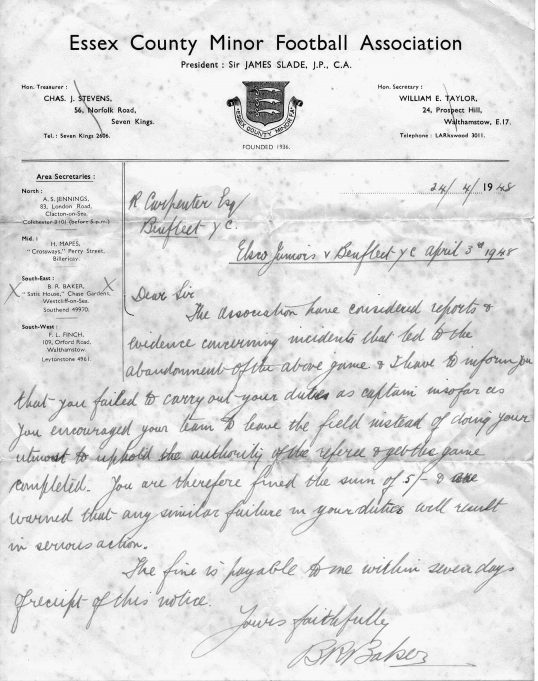Letter from Essex County Minor Football Association dated 24/4/48 - See above for a transcription of the letter | Betty and Kenneth Cockburn