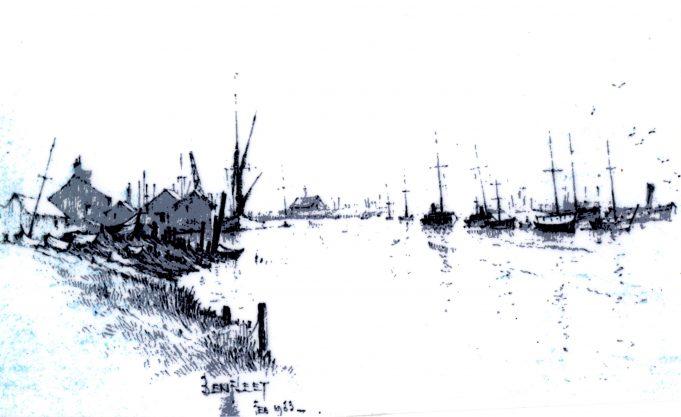 Benfleet Creek from station to bridge,  1953