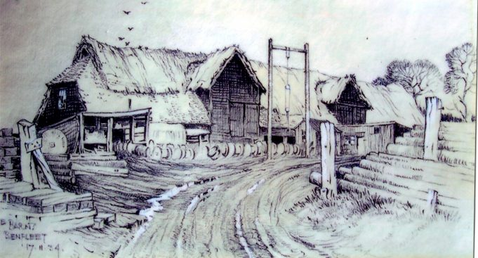 Large, 400 year old barn on Hall Farm , destroyed by fire in January 1939 drawn by Henry  Martin Luyken