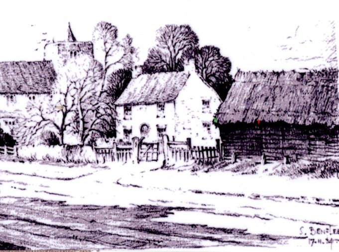 Small Hall Farm barn next to numbers 1 and 2 Church Cottages drawn by Henry Martin Luyken
