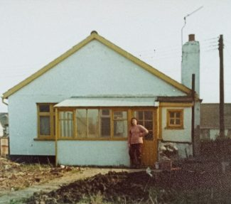 Back view of the whitewashed 'Manor Cottage' in 1974   Pamela-Jeanetta Bird Gaines