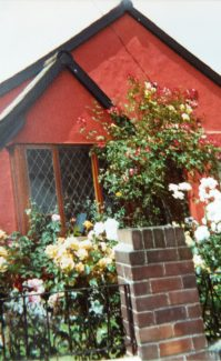 Front view of 'Manor Cottage' painted Cinnabar after the extension was added in 1985   Pamela-Jeanetta Bird Gaines