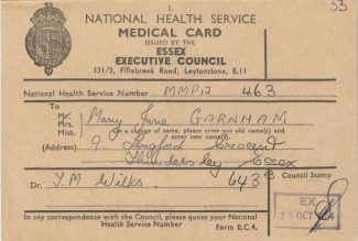 Medical Card for Mary Garnham, signed by Dr T Wilks | John Garnham