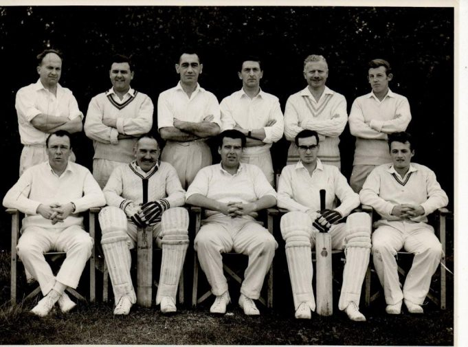 Benfleet Cricket Club Team - Back row 1st left Peter Cammidge,  Front Row 1st Left Dennis Sipple, centre Micky Claxton. | Taken by Jackson's Photo Services Canvey Island, From Mave Sipple.