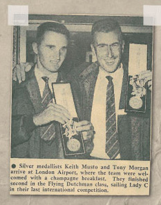 Newspaper clipping Keith Musto and Tony Morgan at London airport with their medals. | The Musto Website