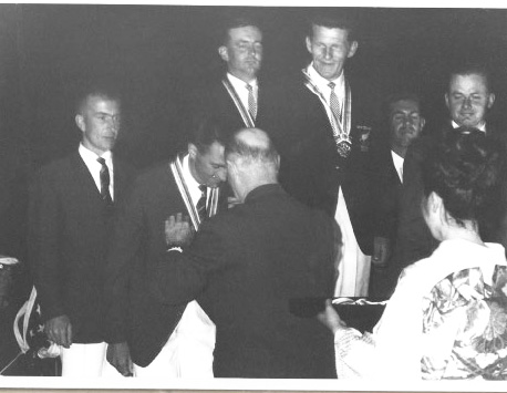 Keith Musto and Tony Morgan receiving their medals at the Tokyo Olympics 1964 | The Musto Website