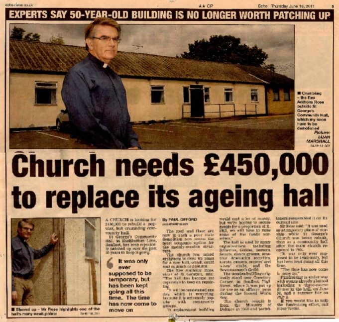 Newspaper report about the need to raise funds for a new church hall.