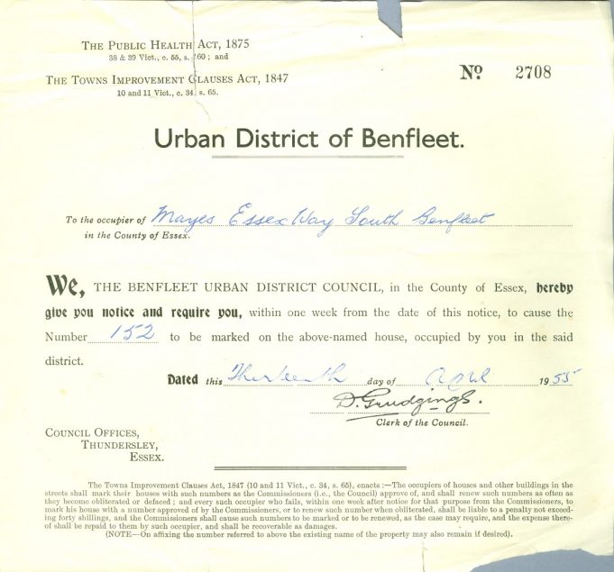 Official Notice from Benfleet Urban District Council for 'Mayes' | Karen Robinson