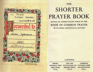The Shorter Prayer Book, presented to me in 1957 by L. Woodcock, the Rector of St Peter's Church.   John Garnham