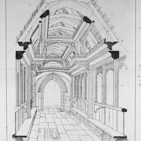 Drawing of the porch by Thomas Goodman, architect, Southend...printed in