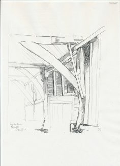 Drawing of barn interior  by Ernest Godman...quite possibly the same barn that inspired  Helen Stewart's barn exterior linocut | Reproduced by courtesy of the Essex Record Office (reference :  D/Y 33/1/21)