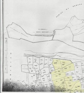 Tithe map 1 of 2 . Shows area occupied by Reeds Hill Farm  in 1841