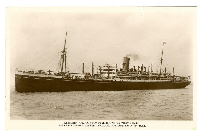 Postcard.  S.S. Jervis Bay. Before conversion into an Armed Cruiser.