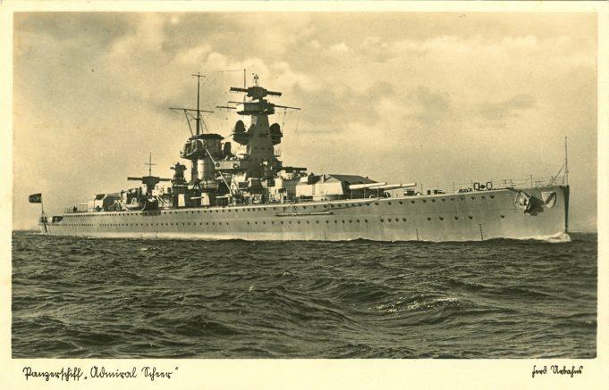 Postcard.  The Admiral Scheer.