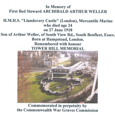 Tower Hill Memorial.  London. | Copyright.  Commonwealth War Graves Commission.