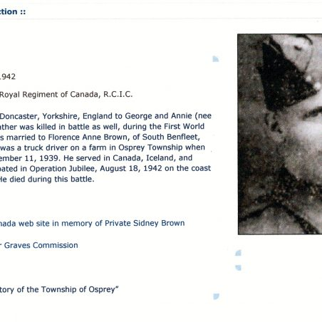 Sidney Brown | History Of The Township Of Osprey.