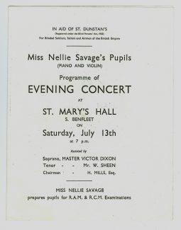 Evening Concert Programme. | Yvette Layzell.