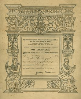 Pianoforte Certificate to Violet Layzell. | Yvette Layzell.