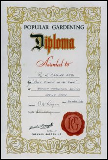 Popular Gardening Diploma awarded to Mr R J Collins at the BHS Spring Show April 1961 | Sandra Shortell (nee Collins)