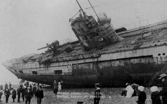 German Submarine U118. Washed up on Hastings Beach. | Unknown