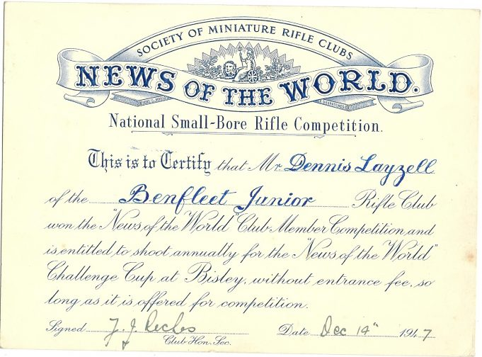 Certificate of Dennis Layzell for winning the ' News of The World' Rifle Club Member Competition 1947 | Dennis Layzell
