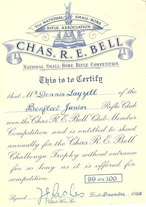 Certificate of Dennis Layzell for winning the Chas. R.E. Bell National Small-Bore Rifle Competion 1948 with a score of 99 out of 100 | Dennis Layzell