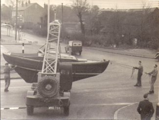 Picture 7 - A boat being lifted onto a lorry outside the yard | F. Lazell