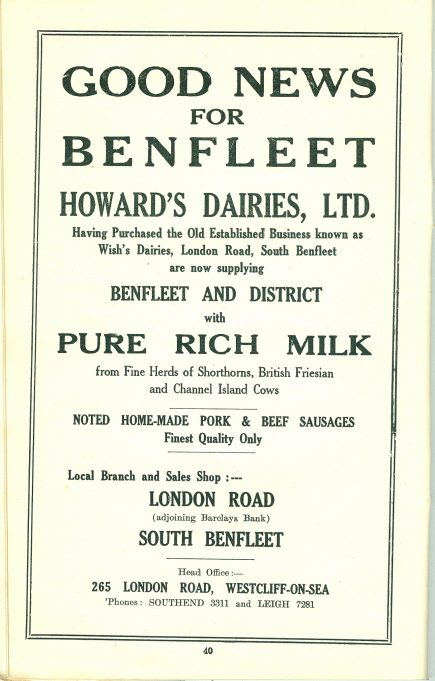 Advertisement in Official Guide c. 1935/36