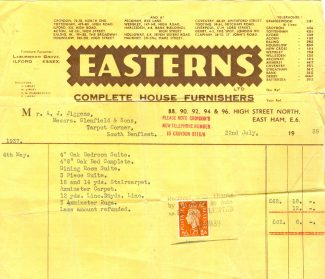Easterns Furnishers Bill | Janice Jiggens