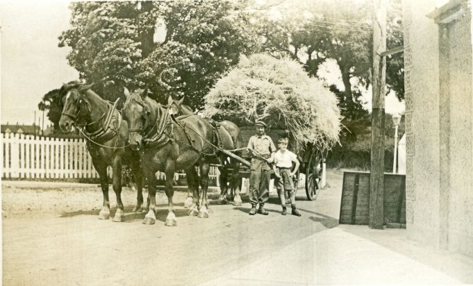 At The Colony entrance, my father and Vincent with a waggon load of hay. | Maureen Watson