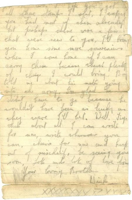 The last letter sent to his younger brother  Dennis (nicknamed Tig) just a few days before he was wounded, from which he later died. | Dennis Layzell