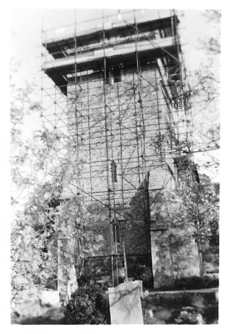 Church tower with scaffold   Betty Matson