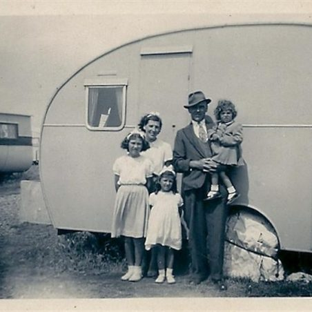 The Batchford family outside their holiday caravan in St Osyths, Nr Clacton, Essex. | Doreen Colvin (Nee Batchford)