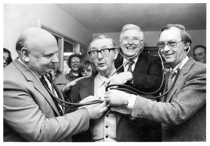 Dr Tyndall, with colleagues Dr Acres, Dr Taylor and Dr Sutcliffe.  January 1982. | © Echo Newspapers